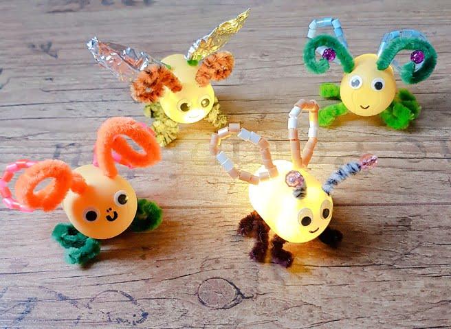 Glühwürmchen aus Kindereiern basteln