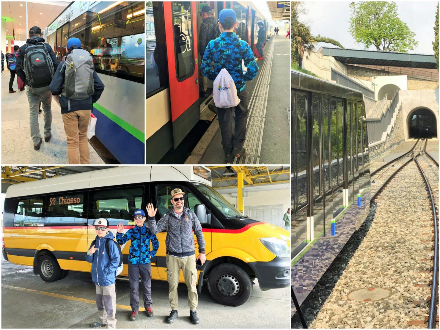 Unterwegs mit Postauto Zug Standseilbahn
