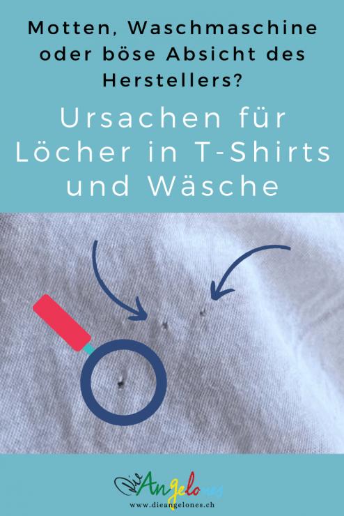 Viele kennen das Problem: Nach dem Waschen in der Waschmaschine entdeckt man plötzlich kleine Löcher in den Kleidungsstücken. Sogar bei neuen. Waren es Motten? Ist die Waschmaschine kaputt? Oder ist es gar böse Absicht der Hersteller, damit wir möglichst oft neue Kleider kaufen müssen? Wir erklären, wie und warum Löcher in der Wäsche entstehen können, was man präventiv machen kann, um solche möglichst zu verhindern und welcher - in den meisten Fällen - der wahre Grund für die lästigen kleinen Löcher in den T-Shirts ist.