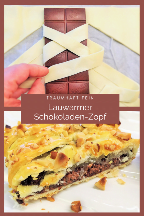 Dieser lauwarme Schokoladen-Zopf ist ein Traum für Gaumen und Augen! Er ist mit diesem Rezept einfach und schnell gemacht und schmeckt herrlich fein!