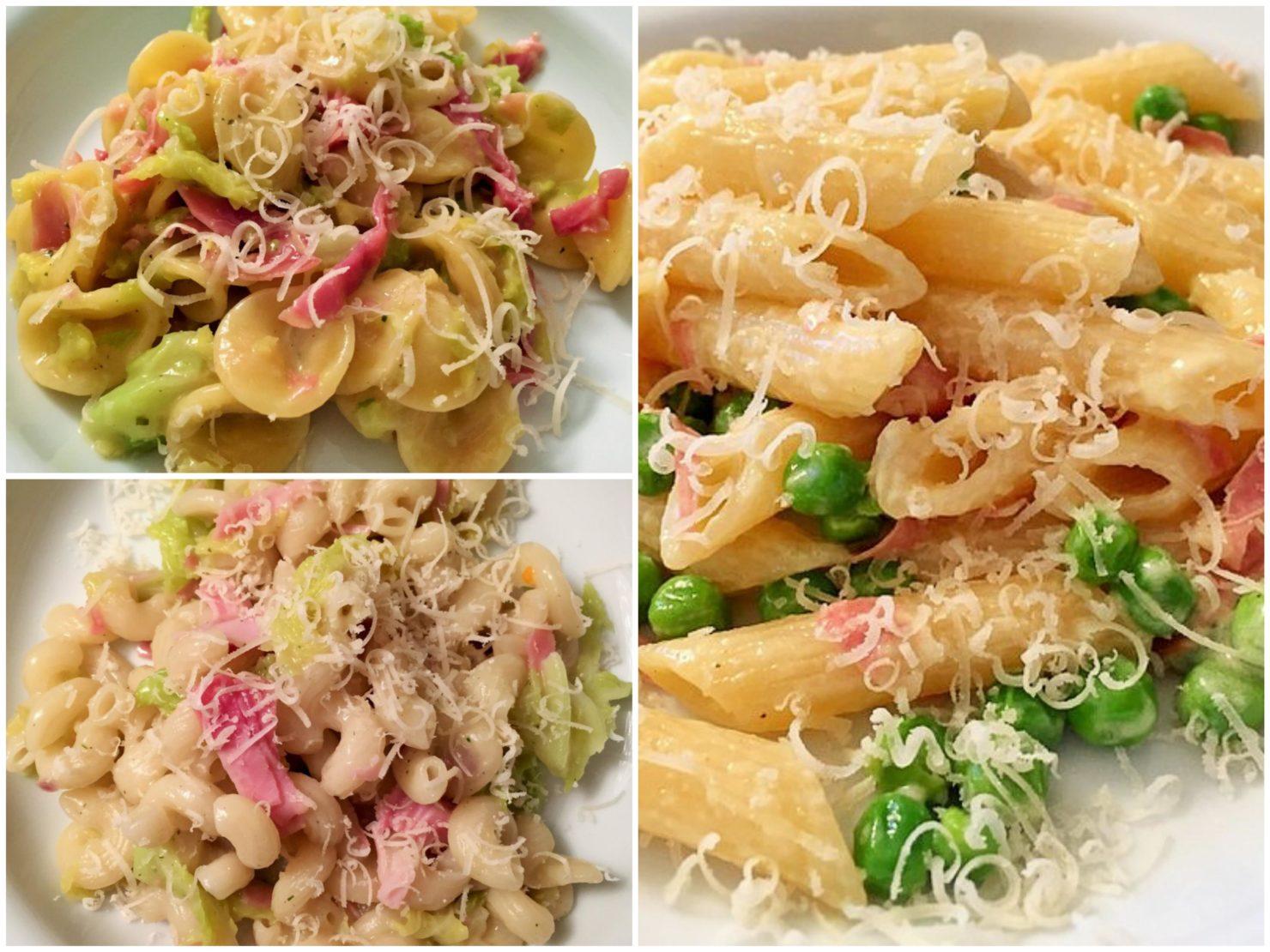 Pasta mit Gemüse und Fleisch oder Wurst