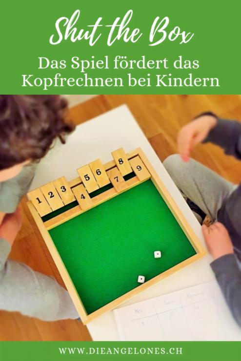 Shut the box ist ein traditionelles Würfelspiel aus dem 19. Jahrhundert. Das Spiel ist auch für Kinder geeignet. Dabei trainieren sie das Kopfrechnen und die Kombination von Zahlen und Ziffern!