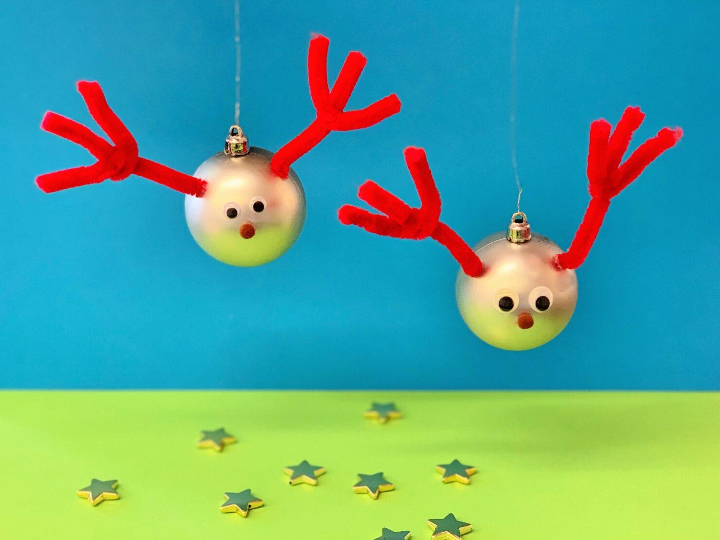 Rudolf-Weihnachtskugeln selber basteln