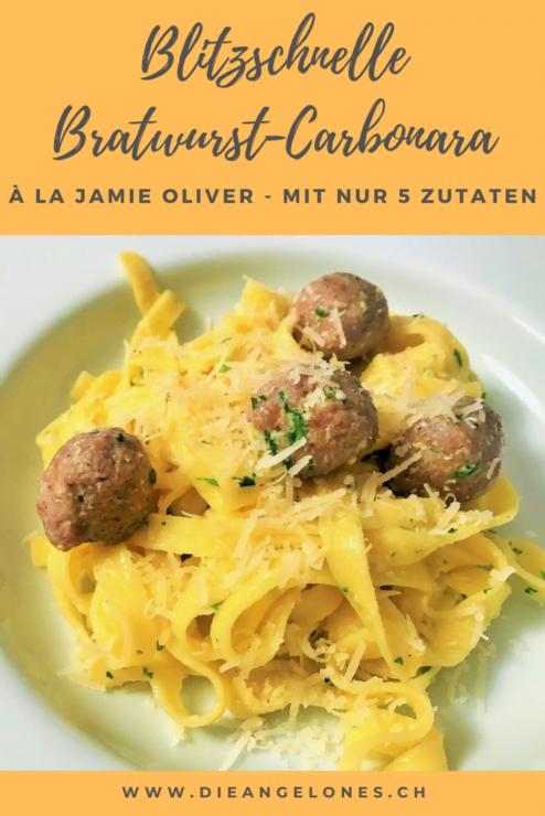 Bratwurst-Carbonara - dieses geniale 5-Zutaten-Rezept für Pasta von Jamie Oliver ist einfach und blitzschnell gemacht und ist damit ein Familienhit!