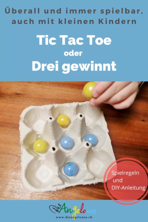 """Das Spiel """"Tic Tac Toe"""" ist auch bekannt als """"Drei gewinnt"""". Es ist ein cooles Zweipersonen-Strategie-Spiel, das überall und immer gespielt werden kann. Auch mit kleinen Kindern. Das Beste: Man kann das Spiel gleich selber basteln!"""