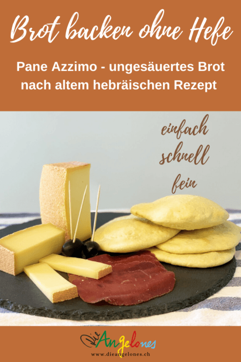 """Brot kann man auch ganz ohne Hefe backen! Nach einem hebräischen Rezept. In Italien heisst dieses einfache ungesäuerte Brot """"pane azzimo"""". Es gehörte zur sogenannten """"Armenküche"""" und wird nur gerade mit Mehl und Wasser gemacht. Das Brot mit uralter Geschichte ist wieder im Trend, blitzschnell gemacht und trotz wenigen Zutaten schmackhaft. Deshalb passt es so gut zur aktuellen Foodblog-Challenge zum Thema """"Brot in Coronazeiten""""."""