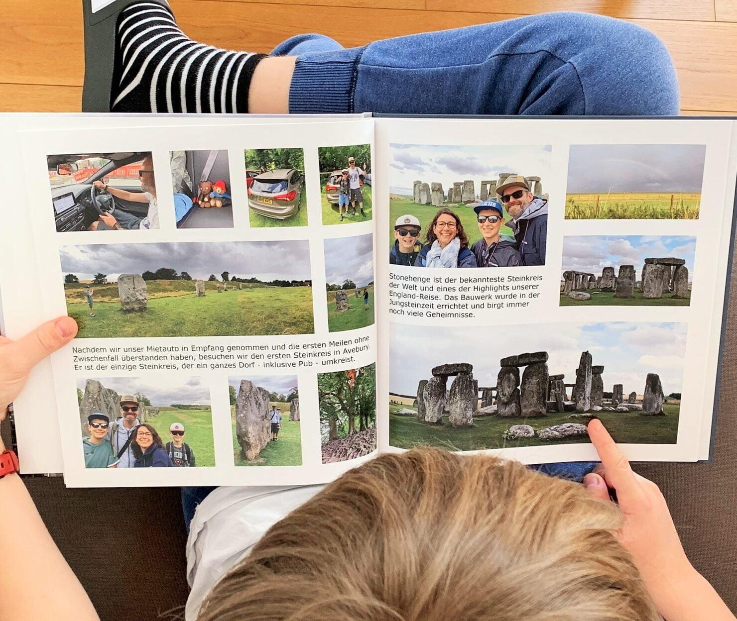 Das Fotobuch unserer England-Reise ist ein Gemeinschaftswerk der ganzen Familie