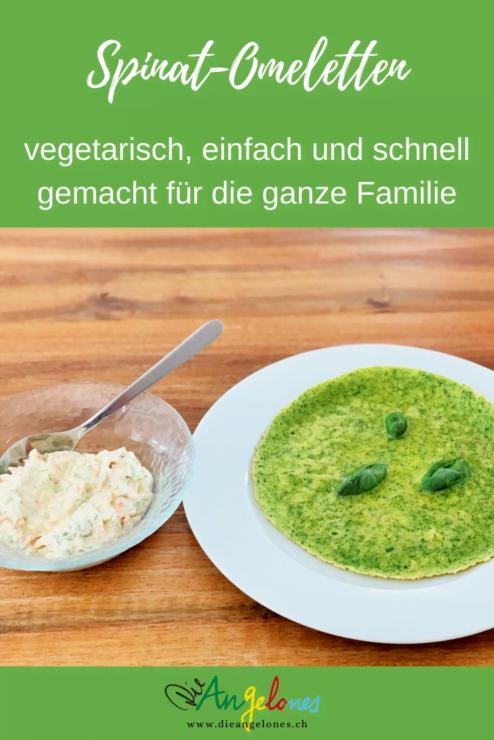 Omeletten sind Lieblinge der Familienküche. Ob mit süssen odre salzigen Füllungen - sie sind einfach und schnell gemacht und können in vielen verschiedenen Varianten zubereitet werden. Diese grüne Spinat-Omelette schmeckt sogar skeptischen Kindern!