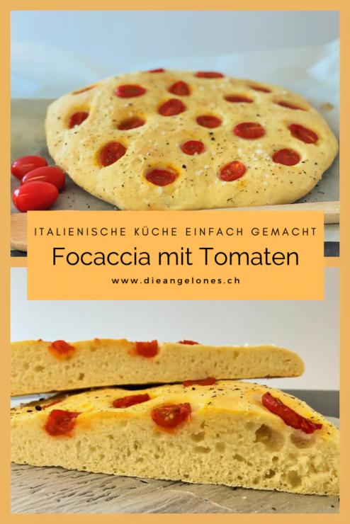 Die Focaccia ist ein italienisches Fladenbrot, das im Ofen gebacken und aus einem einfachen Teig aus Mehl, Olivenöl und Wasser gemacht wird. Die Focaccia kommt oft mit ihren typischen Vertiefungen daher, die mit den Fingern in den Fladen eindrückt und mit Salz, Olivenöl und oft mit Kräutern belegt werden. Wir haben eine Variante mit Tomaten ausprobiert und sind begeistert.  Focaccia backen, ist einfach und geht schnell.