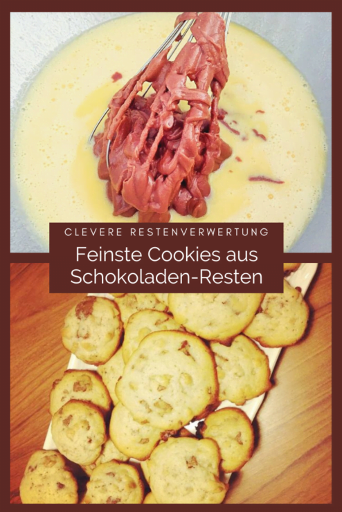 Was tun, wenn man nach Weihnachten viel Schokolade übrig hat? Schoko-Cookies aus den Resten verwerten und backen!