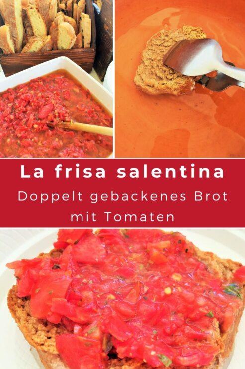 La frisa salentina ist ein kulinarisches Highlight aus dem Salento. Dabei handelt es sich um ein doppelt gebackenes Brot, das am ehesten mit Zwieback vergleichbar ist und - ähnlich wie eine Bruschetta - mit gehackten Tomaten belegt wird.