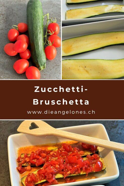 """Bruschetta gehört zu den klassischen italienischen Antipasti. Das ursprüngliche """"Arme-Leute-Essen"""" stammt aus Mittel- und Süditalien. Frisch geröstetes Brot, wie zum Beispiel Pane Pugliese mit harter Kruste, wird noch warm mit einer halbierten Knoblauchzehe eingerieben und dann mit Olivenöl beträufelt, nach Belieben gepfeffert und gesalzen und sofort genossen. Oft kommen aber auch noch gehackte Tomaten und Basilikum obendrauf! Für einmal haben wir als Grundlage für die Bruschette gegrillte Zucchetti verwendet. Eine schmackhafte Sommer-Variante, die eine feine Grill-Beilage darstellt."""