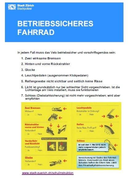 Prüfungsvorbereitung: Veloparcours und -kontrolle auf dem Pausenplatz