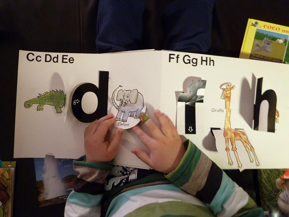 Vor dem eigentlichen Lesen kommt bei Kindern das Anschauen und Antasten von Büchern