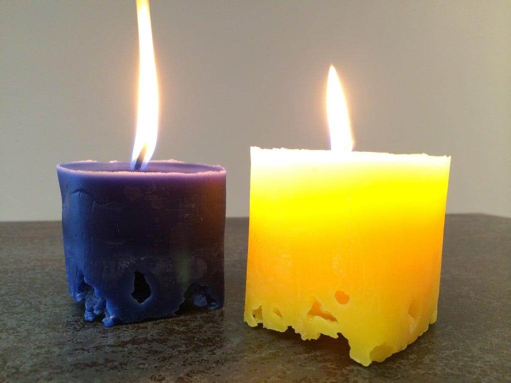 Kerzen-Upcycling mit Eis