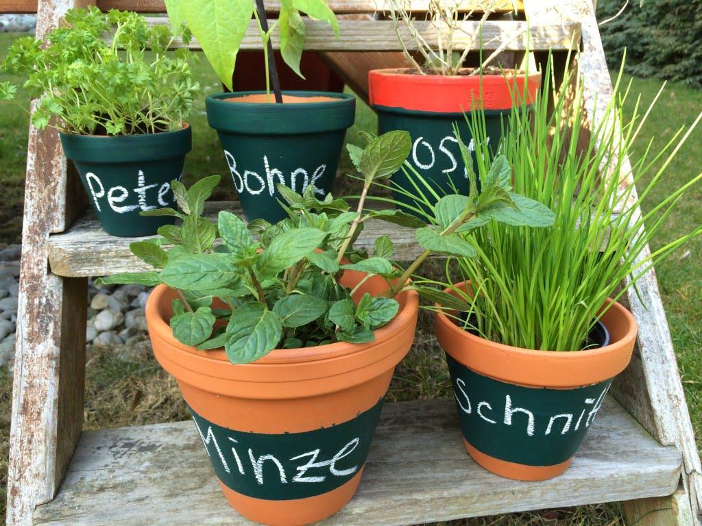 Garten: Beschreibbare Töpfe für Kräuter