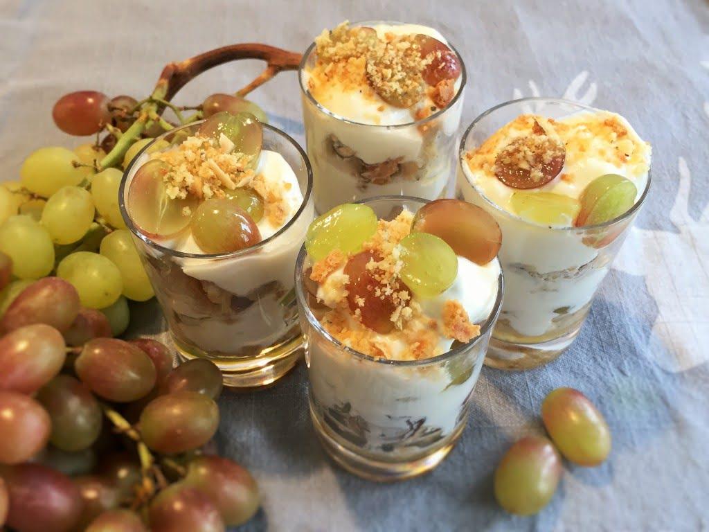 Rezept für ein Trauben Dessert in Schichten
