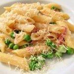 Pasta mit Mortadella und Erbsen Rezept